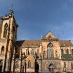 Panorama of the Saint Martin Gothic church in Colmar